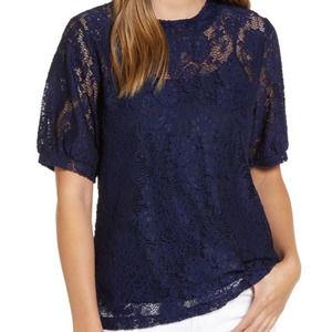 Halogen NWT Women's L Navy Blue Grosgrain Tie Back Lace Short Sleeve Top Blouse